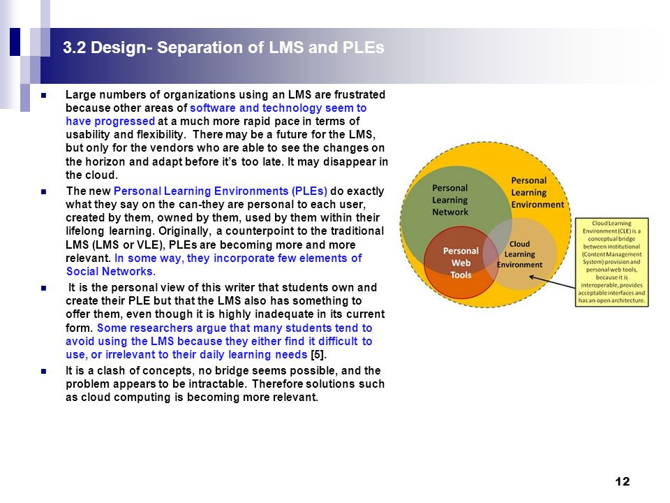 12 3.2 Design- Separation of LMS and PLEs Large numbers of organizations using an LMS are frustrated because other areas of software and technology seem to have progressed at a much more rapid pace in terms of usability and flexibility.