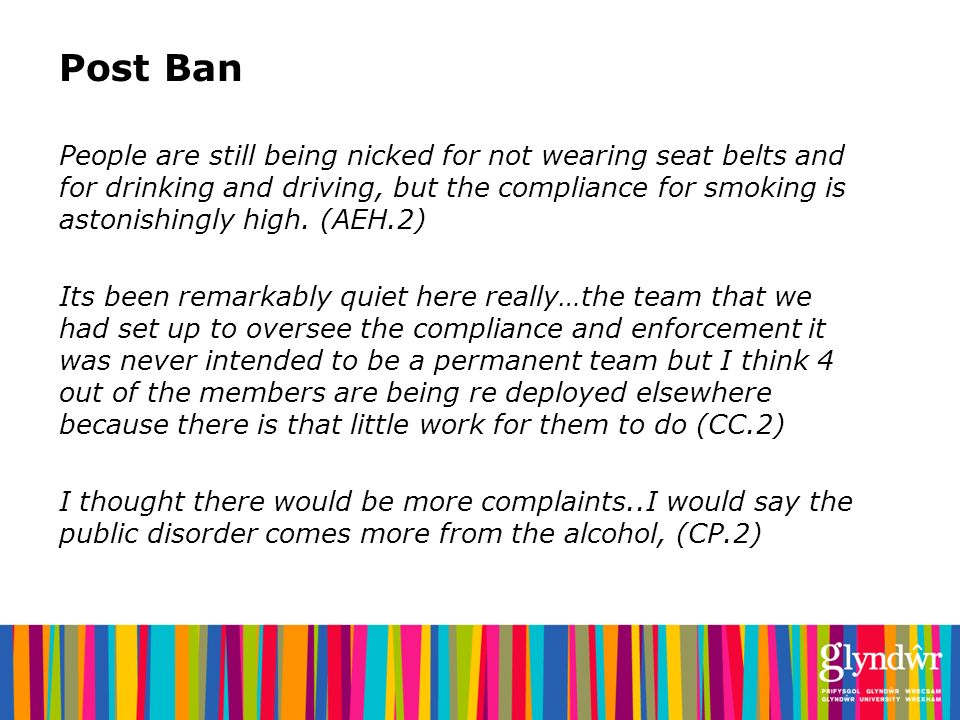 Post Ban People are still being nicked for not wearing seat belts and for drinking and driving, but the compliance for smoking is astonishingly high.