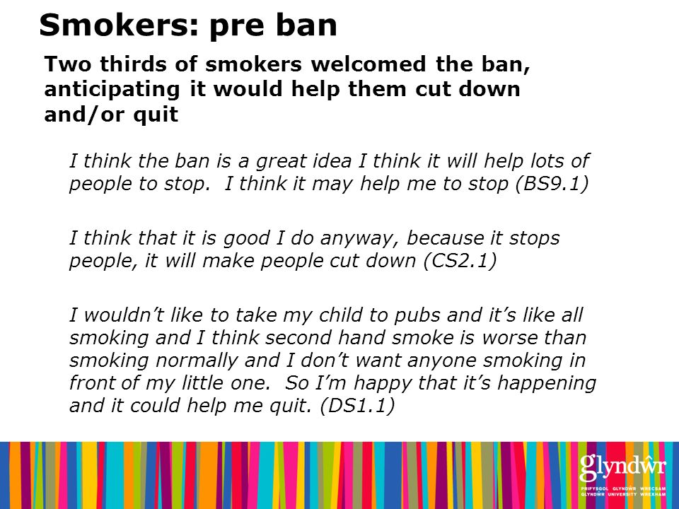 Smokers: pre ban Two thirds of smokers welcomed the ban, anticipating it would help them cut down and/or quit I think the ban is a great idea I think it will help lots of people to stop.