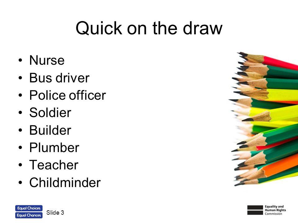 3 Quick on the draw Nurse Bus driver Police officer Soldier Builder Plumber Teacher Childminder Slide 3