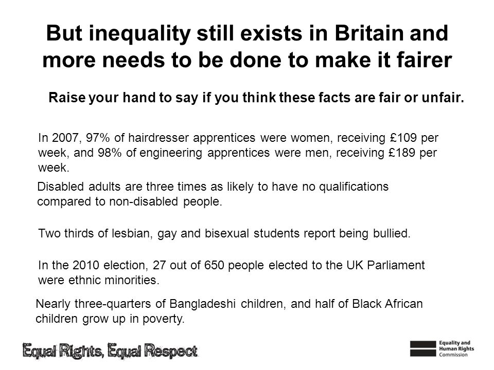 But inequality still exists in Britain and more needs to be done to make it fairer Raise your hand to say if you think these facts are fair or unfair.