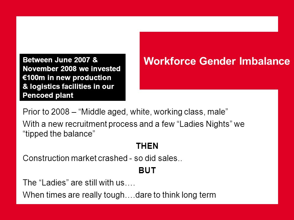 Workforce Gender Imbalance Prior to 2008 – Middle aged, white, working class, male With a new recruitment process and a few Ladies Nights we tipped th