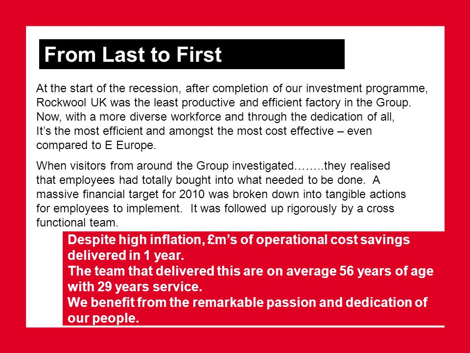 From Last to First Despite high inflation, £ms of operational cost savings delivered in 1 year. The team that delivered this are on average 56 years o