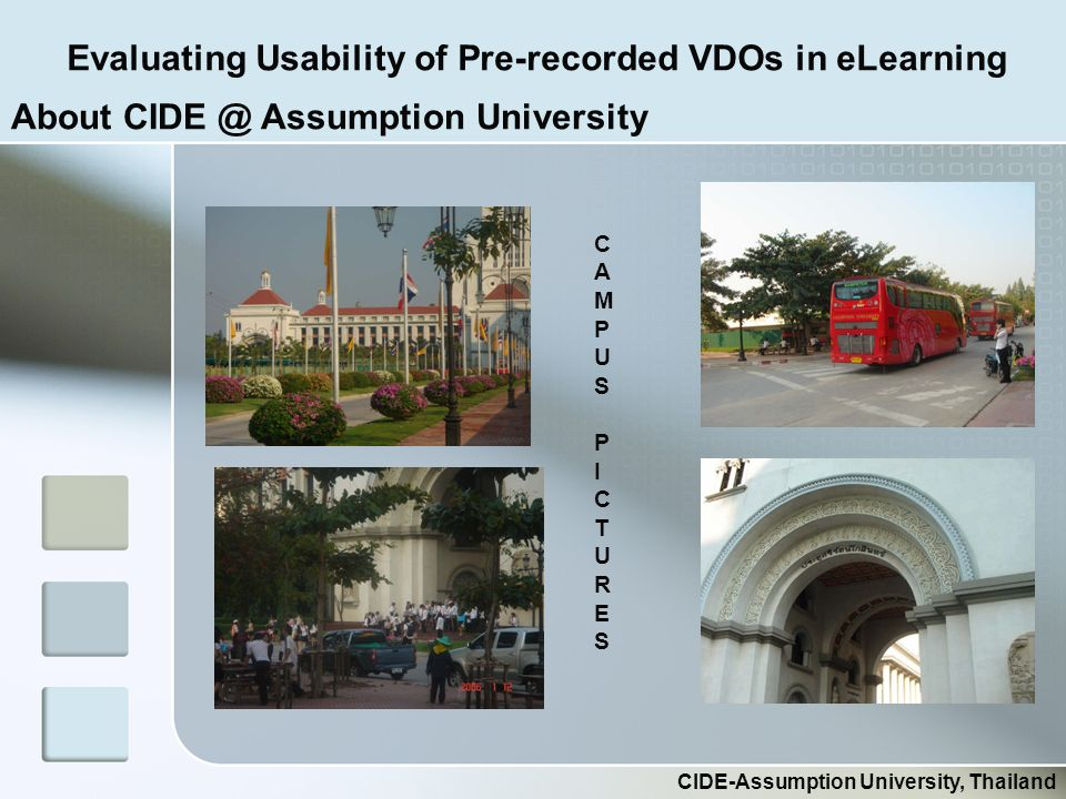 Evaluating Usability of Pre-recorded VDOs in eLearning CIDE-Assumption University, Thailand CAMPUSPICTURESCAMPUSPICTURES About CIDE @ Assumption University
