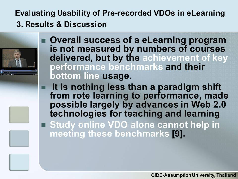 Evaluating Usability of Pre-recorded VDOs in eLearning CIDE-Assumption University, Thailand Overall success of a eLearning program is not measured by numbers of courses delivered, but by the achievement of key performance benchmarks and their bottom line usage.