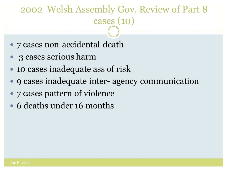 2002 Welsh Assembly Gov. Review of Part 8 cases (10) 7 cases non-accidental death 3 cases serious harm 10 cases inadequate ass of risk 9 cases inadequ