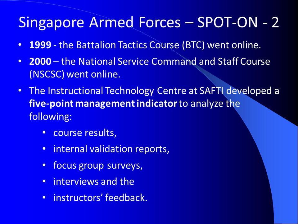 Singapore Armed Forces – SPOT-ON - 2 1999 - the Battalion Tactics Course (BTC) went online.