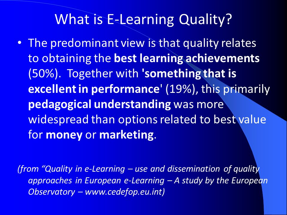 What is E-Learning Quality.