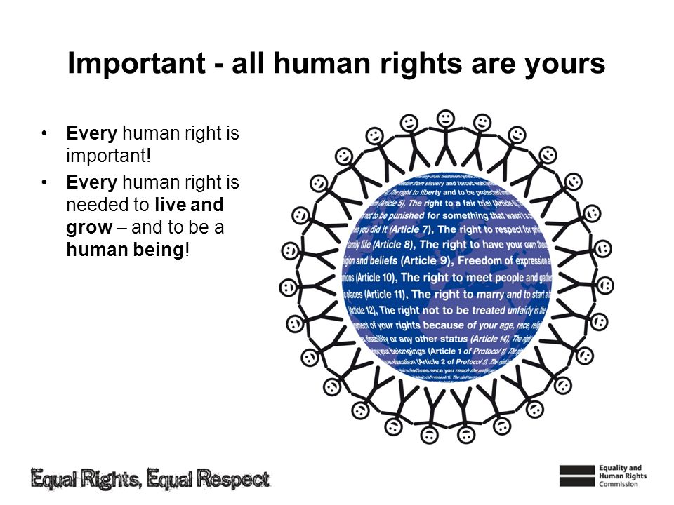 Important - all human rights are yours Every human right is important! Every human right is needed to live and grow – and to be a human being!