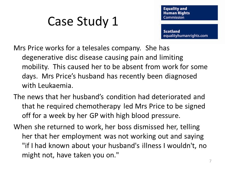 Case Study 1 Mrs Price works for a telesales company.