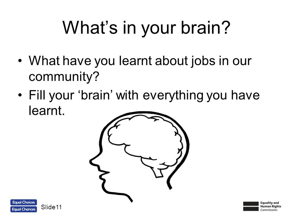 Whats in your brain? What have you learnt about jobs in our community? Fill your brain with everything you have learnt. Slide11