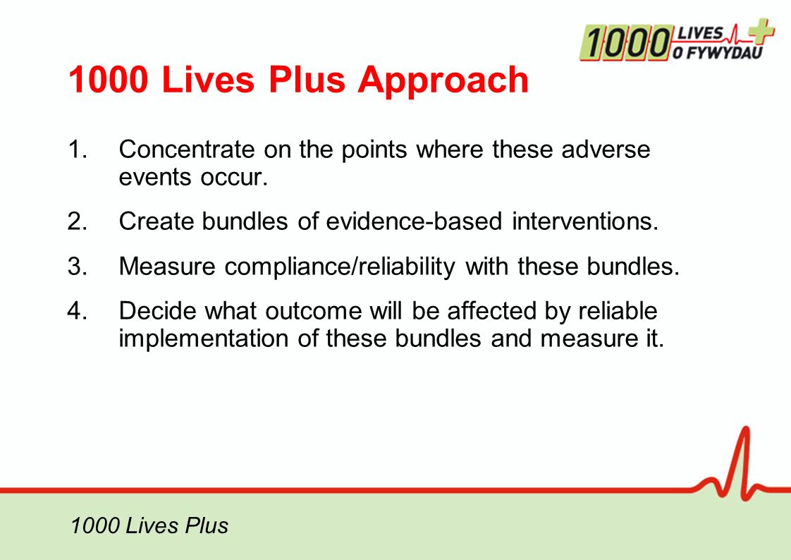 1000 Lives Plus 1000 Lives Plus Approach 1.Concentrate on the points where these adverse events occur.