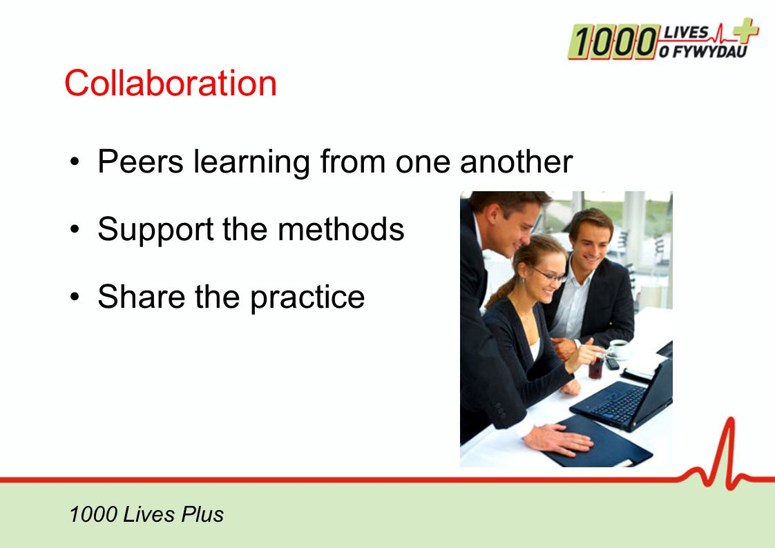 Collaboration Peers learning from one another Support the methods Share the practice