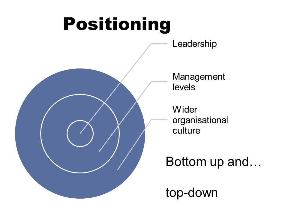 Positioning Leadership Management levels Wider organisational culture Bottom up and… top-down