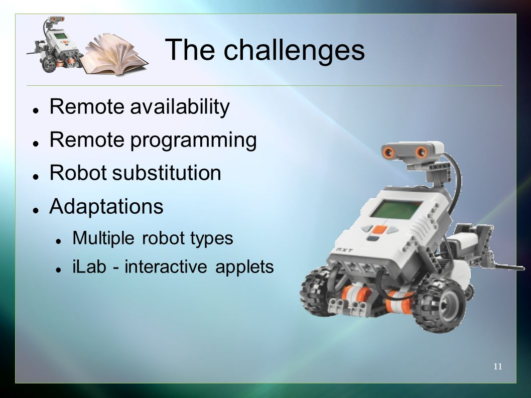11 The challenges Remote availability Remote programming Robot substitution Adaptations Multiple robot types iLab - interactive applets
