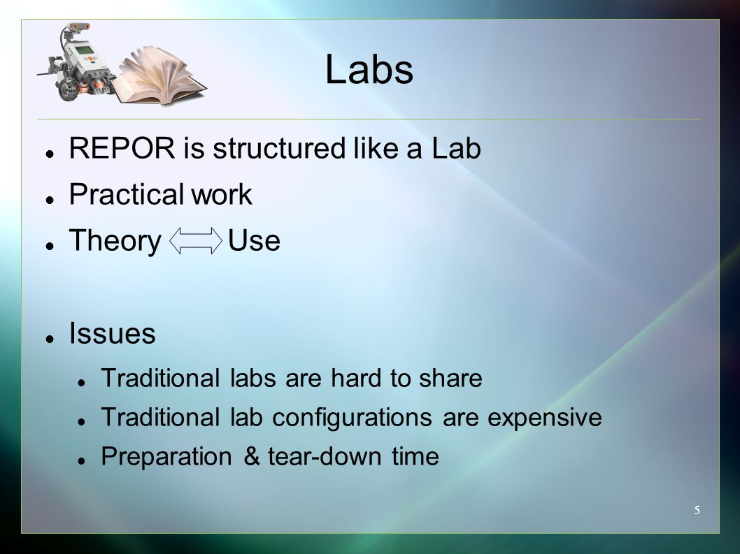 5 REPOR is structured like a Lab Practical work Theory Use Issues Traditional labs are hard to share Traditional lab configurations are expensive Preparation & tear-down time Labs