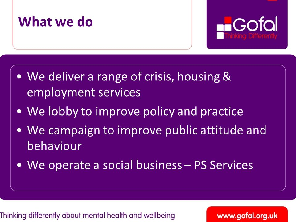 What we do We deliver a range of crisis, housing & employment services We lobby to improve policy and practice We campaign to improve public attitude