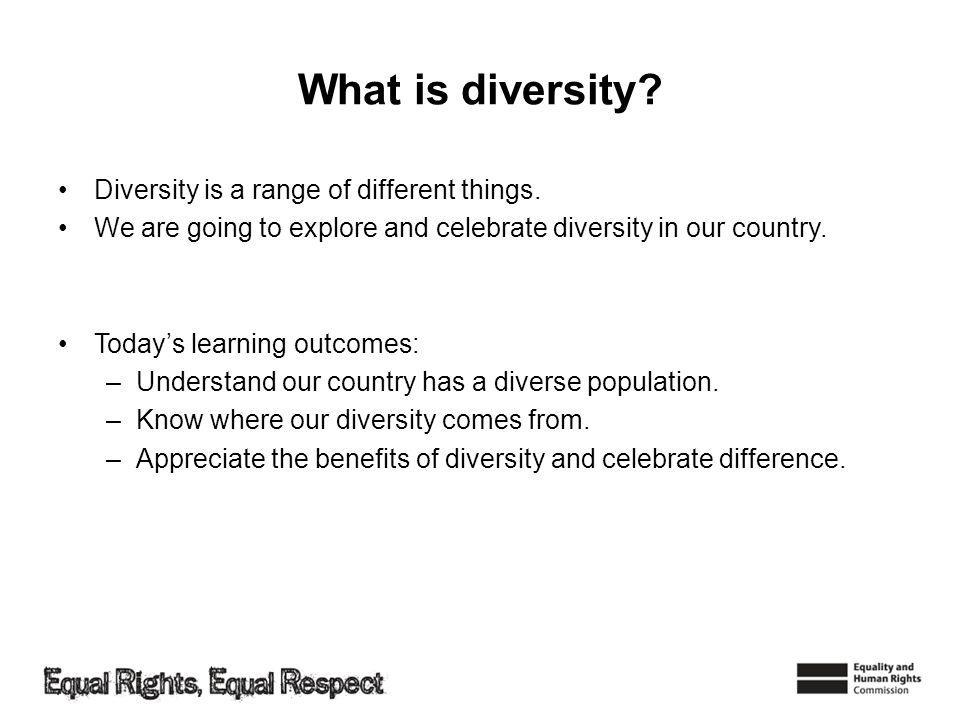 What is diversity. Diversity is a range of different things.