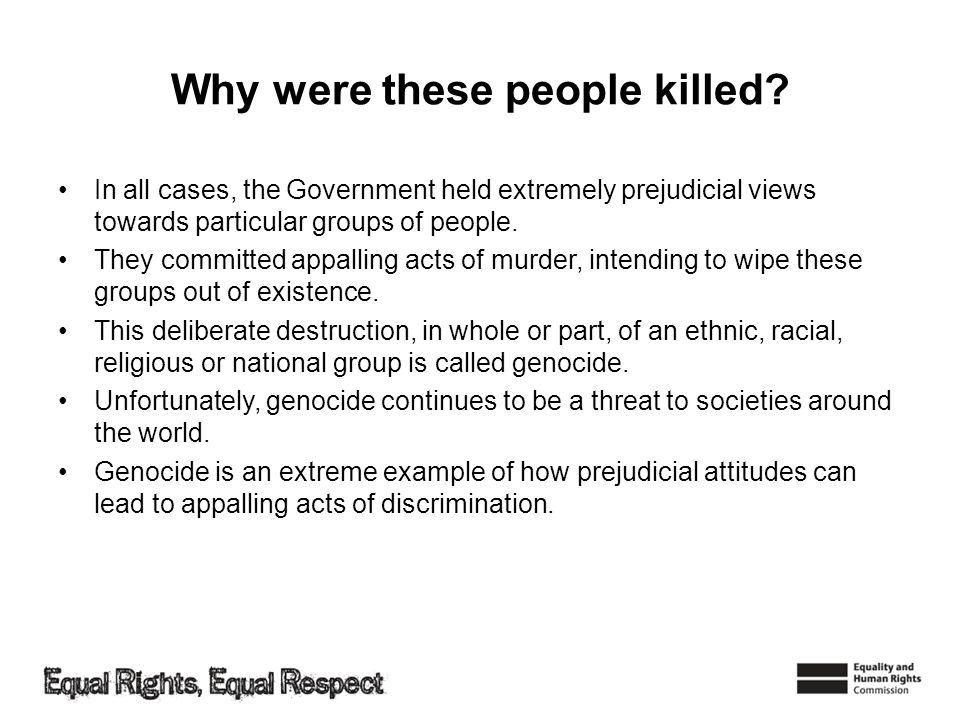 In all cases, the Government held extremely prejudicial views towards particular groups of people.