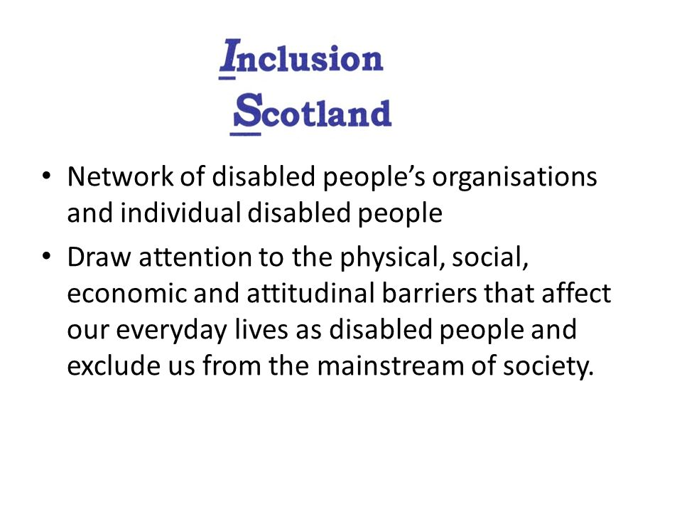 Network of disabled peoples organisations and individual disabled people Draw attention to the physical, social, economic and attitudinal barriers tha