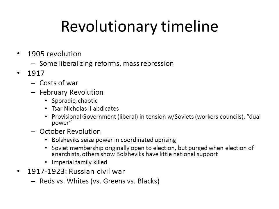 Revolutionary timeline 1905 revolution – Some liberalizing reforms, mass repression 1917 – Costs of war – February Revolution Sporadic, chaotic Tsar N
