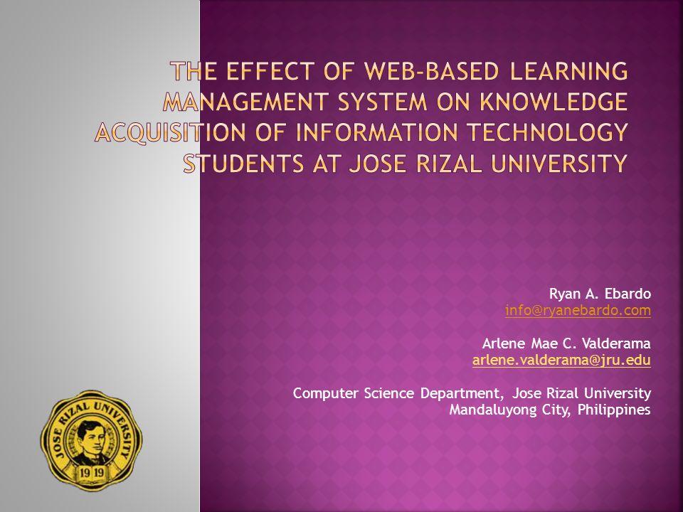Ryan A. Ebardo info@ryanebardo.com Arlene Mae C. Valderama arlene.valderama@jru.edu Computer Science Department, Jose Rizal University Mandaluyong Cit