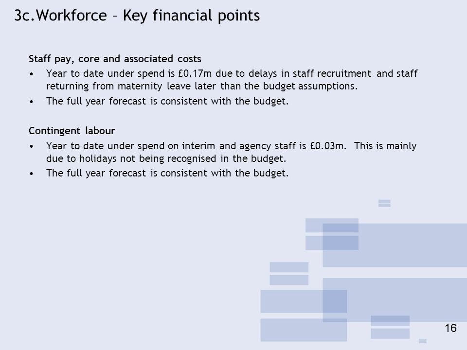 3c.Workforce – Key financial points Staff pay, core and associated costs Year to date under spend is £0.17m due to delays in staff recruitment and sta