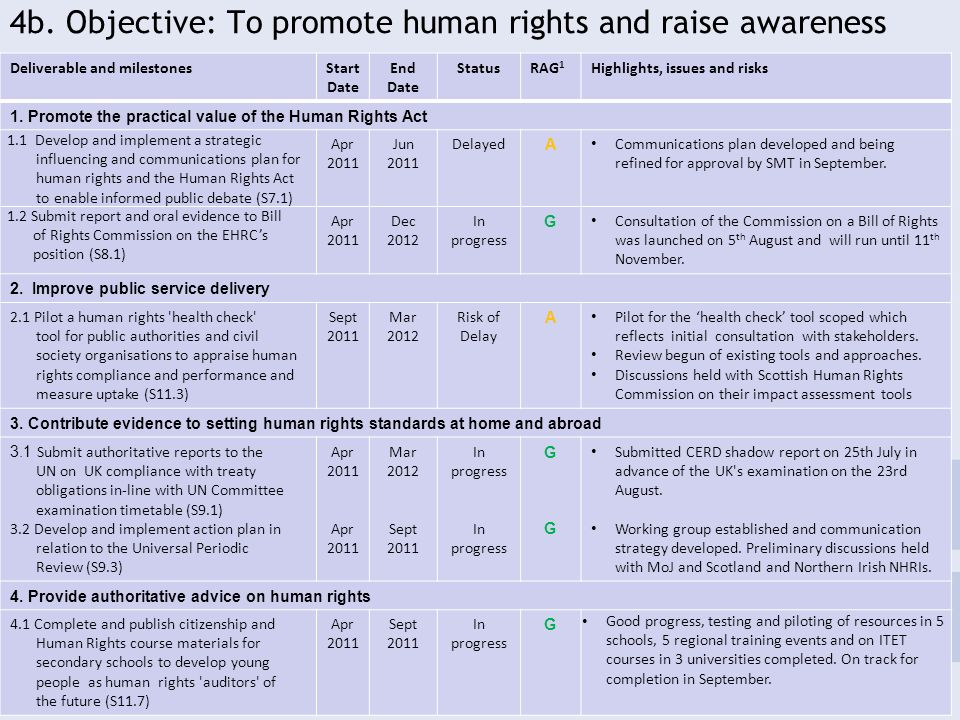 4b. Objective: To promote human rights and raise awareness 19 Deliverable and milestonesStart Date End Date StatusRAG 1 Highlights, issues and risks 1
