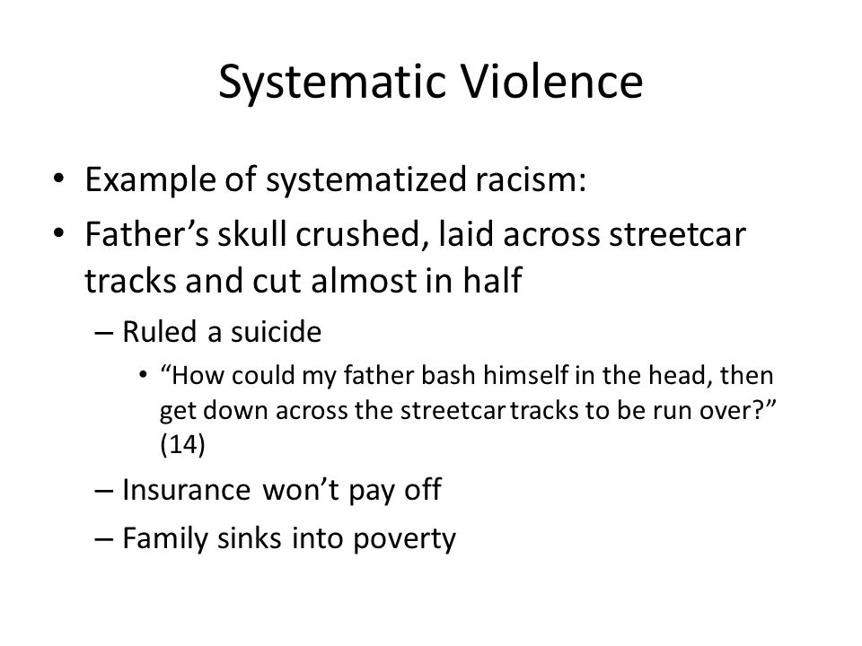 Systematic Violence Example of systematized racism: Fathers skull crushed, laid across streetcar tracks and cut almost in half – Ruled a suicide How c