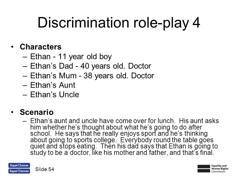 Discrimination role-play 4 Characters –Ethan - 11 year old boy –Ethans Dad - 40 years old. Doctor –Ethans Mum - 38 years old. Doctor –Ethans Aunt –Eth