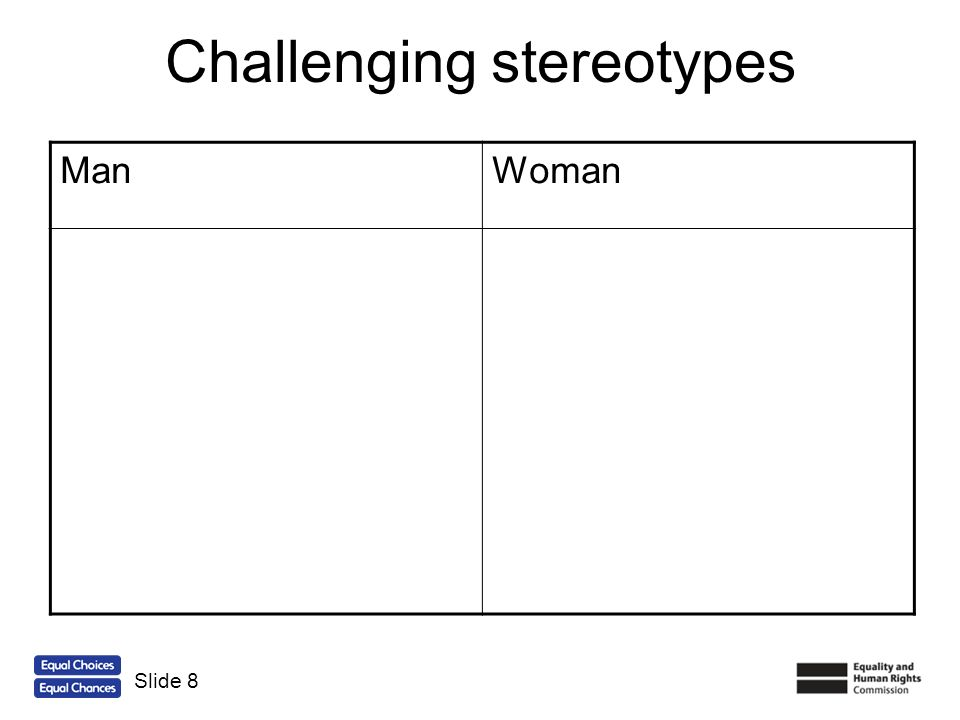 Challenging stereotypes ManWoman Active Sporty Strong Builder Short hair Earns the money Fixes things in the house Pretty Caring Cries a lot Likes flowers Likes pink Long hair Does the cleaning Slide 9