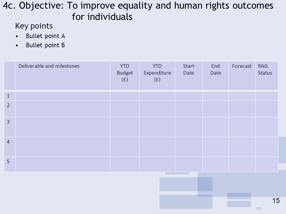 4c. Objective: To improve equality and human rights outcomes for individuals Key points Bullet point A Bullet point B Deliverable and milestonesYTD Bu