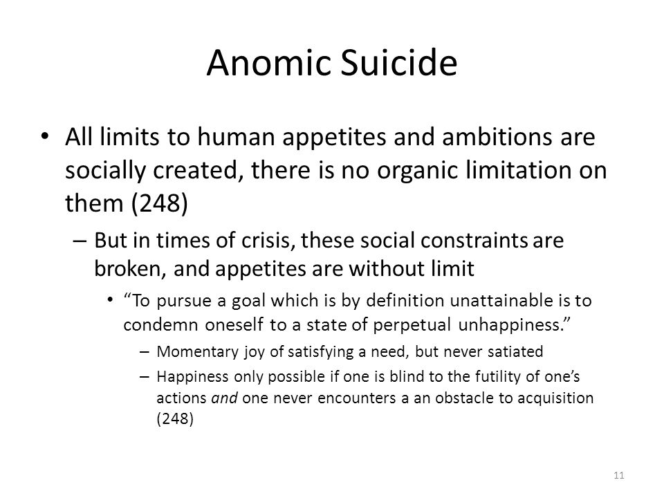Anomic Suicide All limits to human appetites and ambitions are socially created, there is no organic limitation on them (248) – But in times of crisis, these social constraints are broken, and appetites are without limit To pursue a goal which is by definition unattainable is to condemn oneself to a state of perpetual unhappiness.