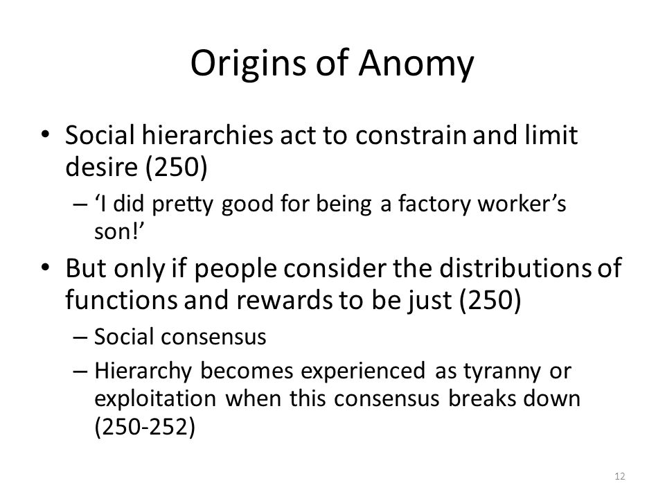Origins of Anomy Social hierarchies act to constrain and limit desire (250) – I did pretty good for being a factory workers son.