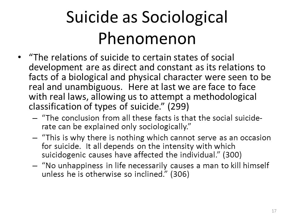Suicide as Sociological Phenomenon The relations of suicide to certain states of social development are as direct and constant as its relations to fac