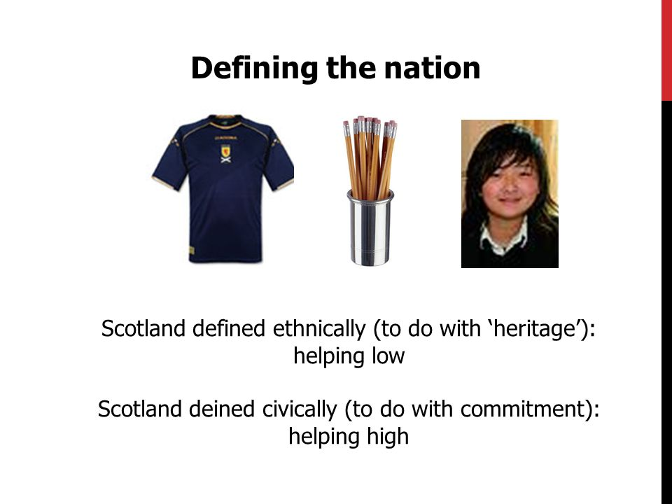 Defining the nation Latané & Darley (1968): epileptic fit Scotland defined ethnically (to do with heritage): helping low Scotland deined civically (to do with commitment): helping high