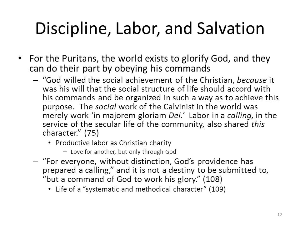 Discipline, Labor, and Salvation For the Puritans, the world exists to glorify God, and they can do their part by obeying his commands – God willed th