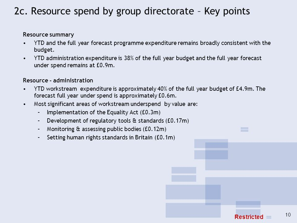 2c. Resource spend by group directorate – Key points Resource summary YTD and the full year forecast programme expenditure remains broadly consistent