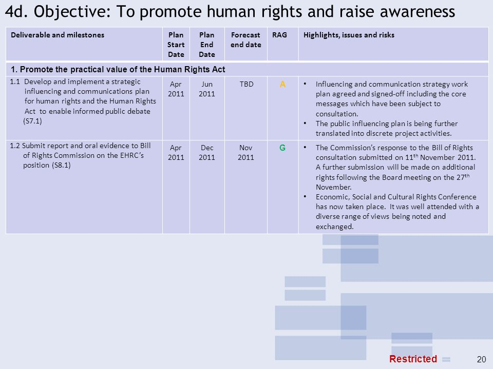 4d. Objective: To promote human rights and raise awareness Deliverable and milestonesPlan Start Date Plan End Date Forecast end date RAGHighlights, is