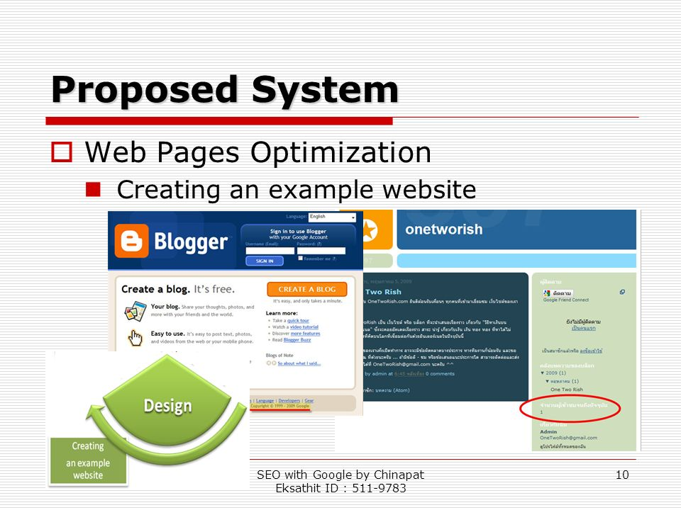 SEO with Google by Chinapat Eksathit ID : 511-9783 10 Proposed System Web Pages Optimization Creating an example website