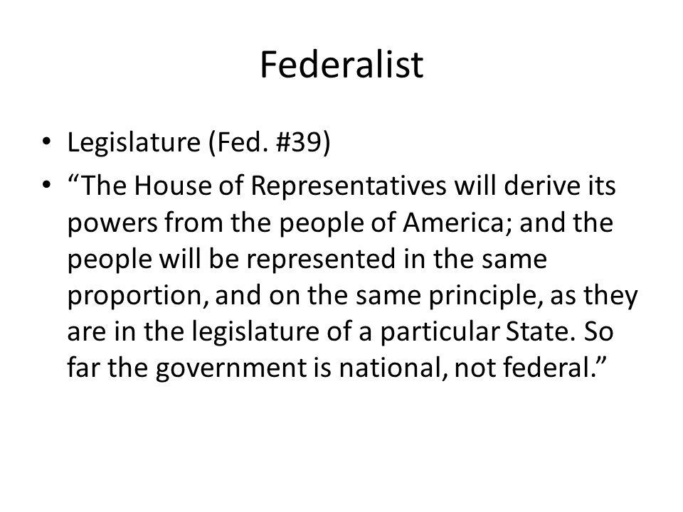 Federalist Legislature (Fed.