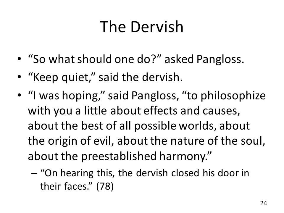 The Dervish So what should one do? asked Pangloss. Keep quiet, said the dervish. I was hoping, said Pangloss, to philosophize with you a little about