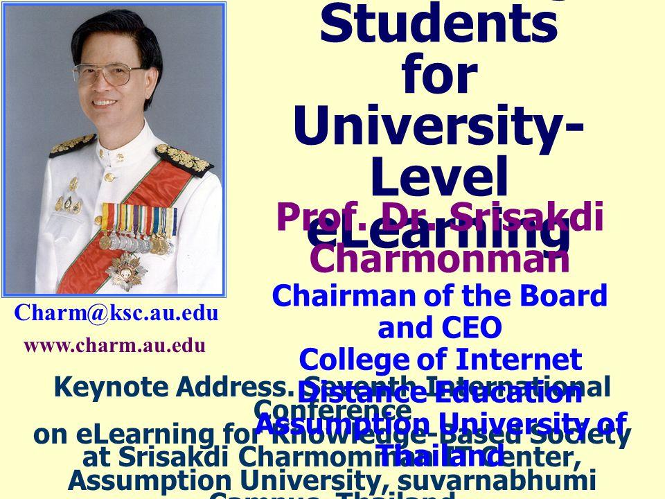 Charm@ksc.au.edu Recruiting Students for University- Level eLearning Keynote Address.