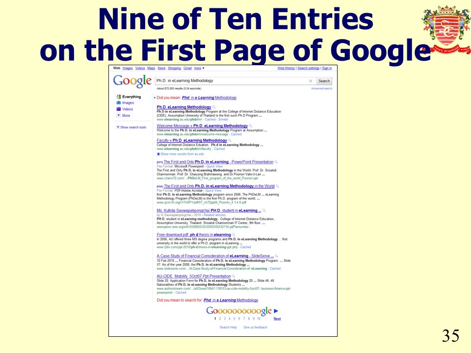 35 Nine of Ten Entries on the First Page of Google Search