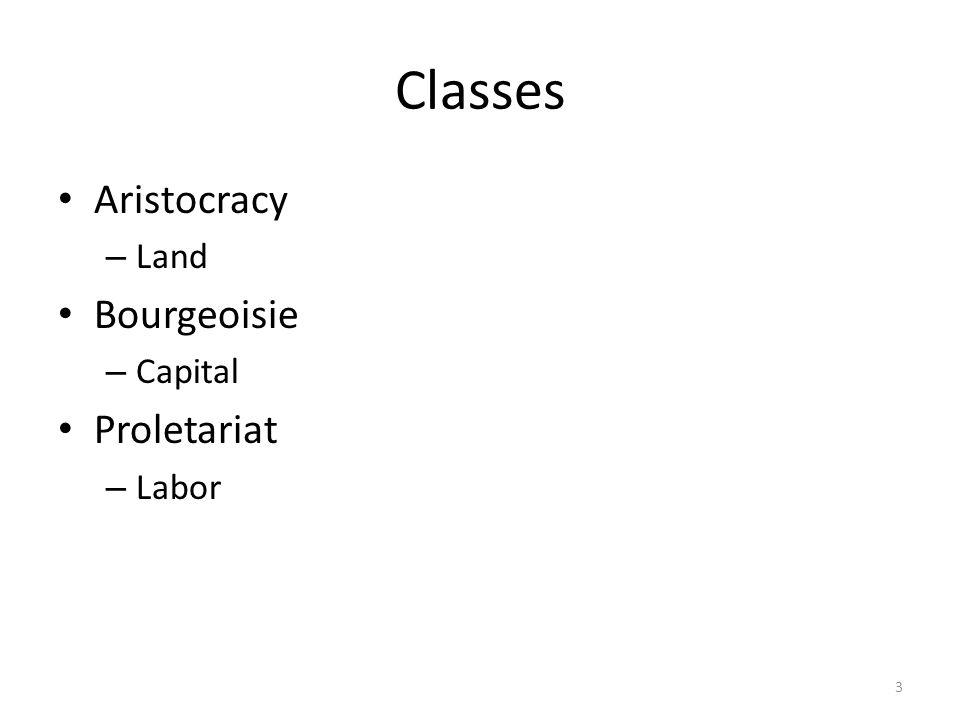 Classes Aristocracy – Land Bourgeoisie – Capital Proletariat – Labor 3