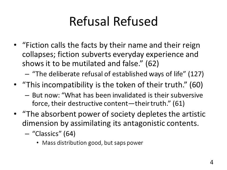 Refusal Refused Fiction calls the facts by their name and their reign collapses; fiction subverts everyday experience and shows it to be mutilated and false.