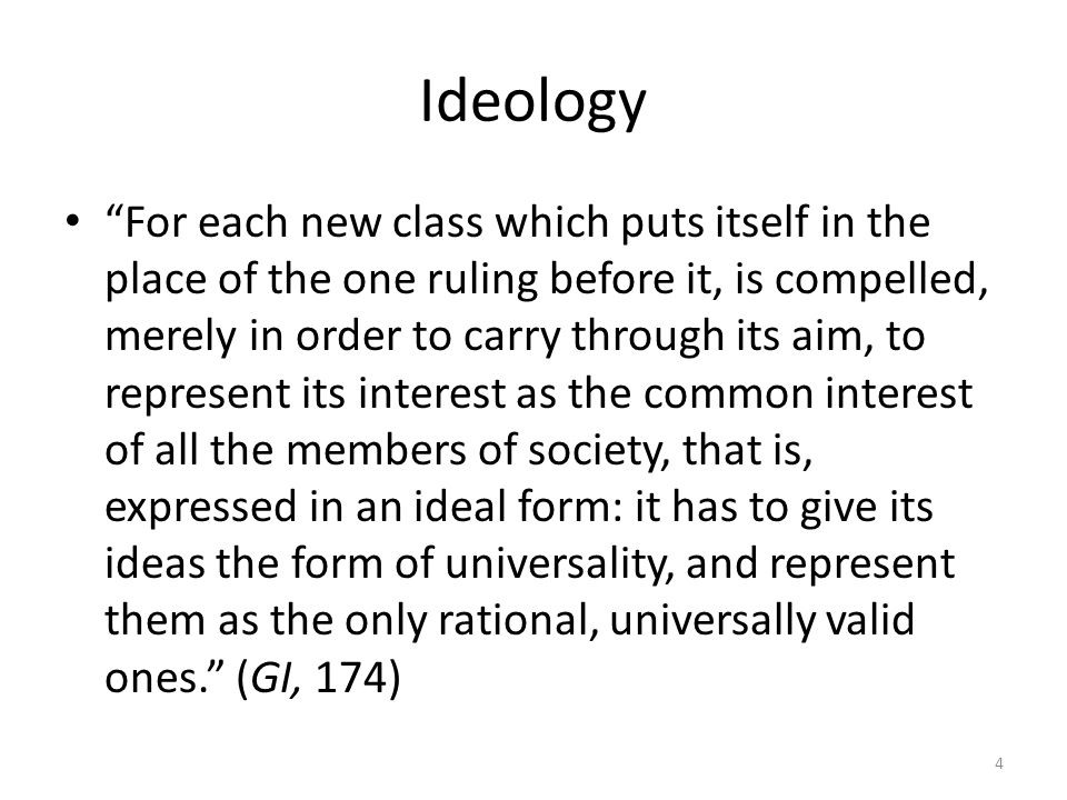 Ideology For each new class which puts itself in the place of the one ruling before it, is compelled, merely in order to carry through its aim, to rep
