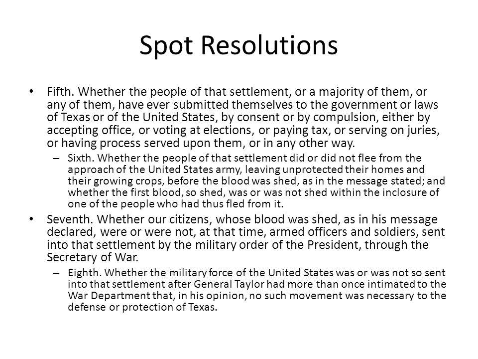 Spot Resolutions Fifth.