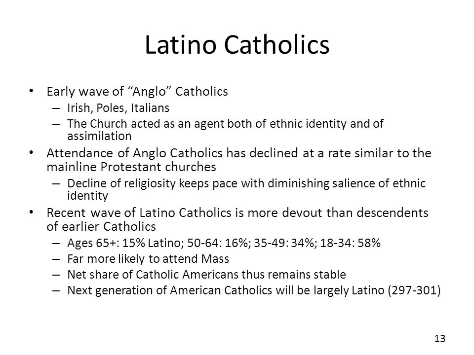 Latino Catholics Early wave of Anglo Catholics – Irish, Poles, Italians – The Church acted as an agent both of ethnic identity and of assimilation Attendance of Anglo Catholics has declined at a rate similar to the mainline Protestant churches – Decline of religiosity keeps pace with diminishing salience of ethnic identity Recent wave of Latino Catholics is more devout than descendents of earlier Catholics – Ages 65+: 15% Latino; 50-64: 16%; 35-49: 34%; 18-34: 58% – Far more likely to attend Mass – Net share of Catholic Americans thus remains stable – Next generation of American Catholics will be largely Latino ( ) 13