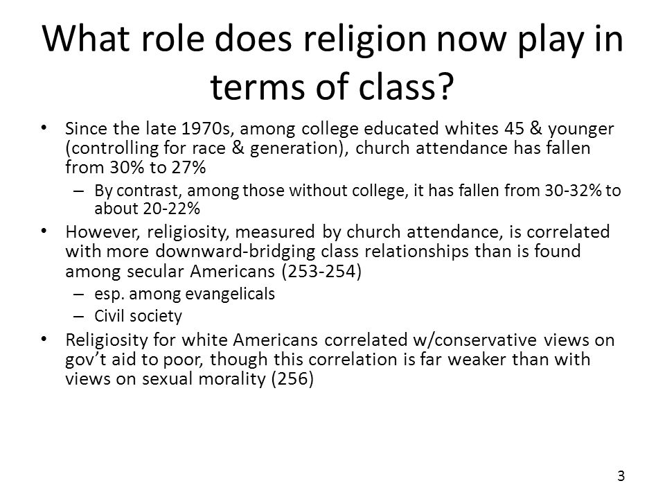 What role does religion now play in terms of class.